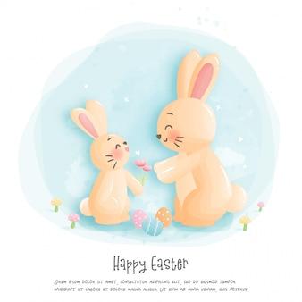 Frohe ostern und muttertagskonzept mit niedlichen kaninchen. illustration
