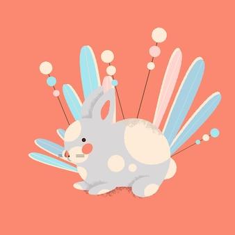 Frohe ostern-vektor-illustration von kaninchen mit pflanzen und blumen