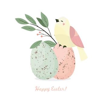 Frohe ostern. vogel, blätter und ostereier mit unterschiedlicher punktbeschaffenheit auf einem weißen hintergrund. frühlingsferien. illustration