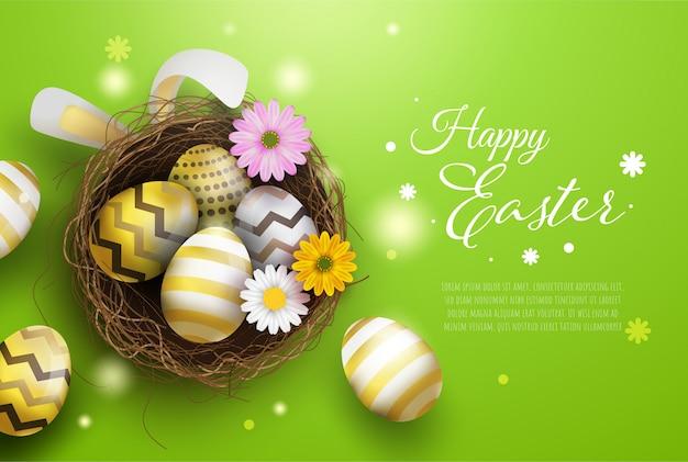 Frohe osterndekorationshintergrund, bunte eier mit vogelnest und schönen blumen.