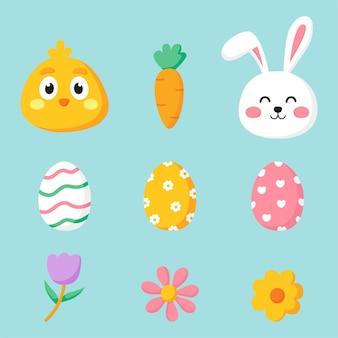 Frohe ostertag eingestellt. cartoon kaninchen und küken isoliert.
