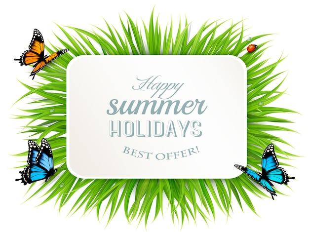 Frohe sommerferien-banner mit gras, schmetterlingen und marienkäfer. .