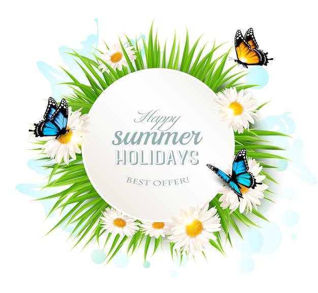 Frohe sommerferien-banner mit gras und schmetterlingen.