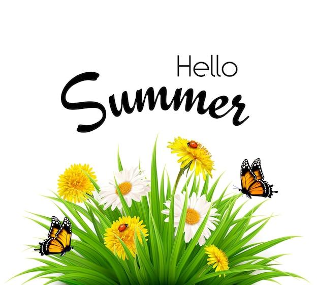 Frohe sommerferien hintergrund mit blumen und schmetterlingen. vektor.