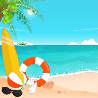 Frohe sommerferien, tropischer strand.