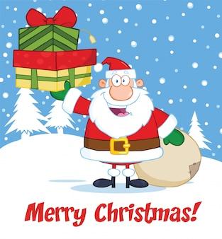 Frohe weihnacht-gruß mit santa claus, die einen stapel geschenke hält