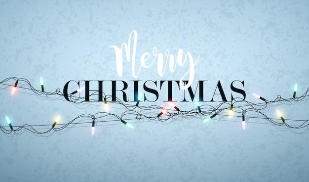 Frohe weihnacht-illustration mit glühender lichtgirlande