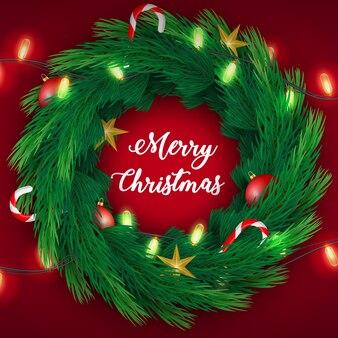 Frohe weihnacht-kiefer verzweigt sich kranzkarte.