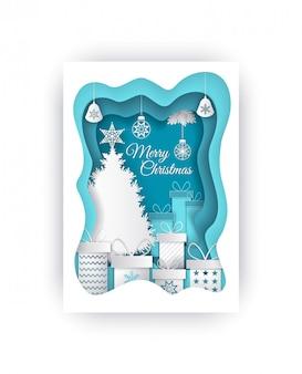 Frohe weihnacht-papier geschnittener immergrüner baum und geschenke