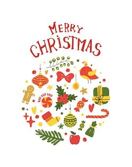Frohe weihnacht-postkarten-rahmen-mistelzweig, süßigkeiten