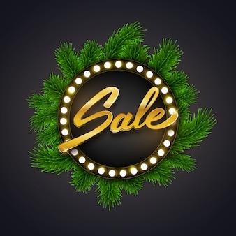 Frohe weihnacht-verkaufsrabatt-vektorillustration mit grünem tannenbaumastrahmen und gold simsen