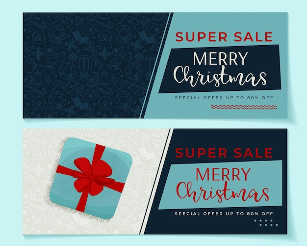 Frohe weihnachten 2 banner-set mit winterelementen vektor-illustration