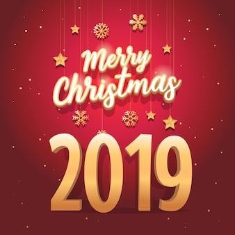 Frohe weihnachten 2019 text mit eleganten und luxuriösen stil.