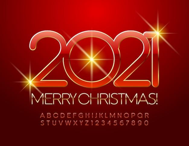 Frohe weihnachten 2021. elegante rote und goldene schrift. schicke buchstaben und zahlen des alphabets