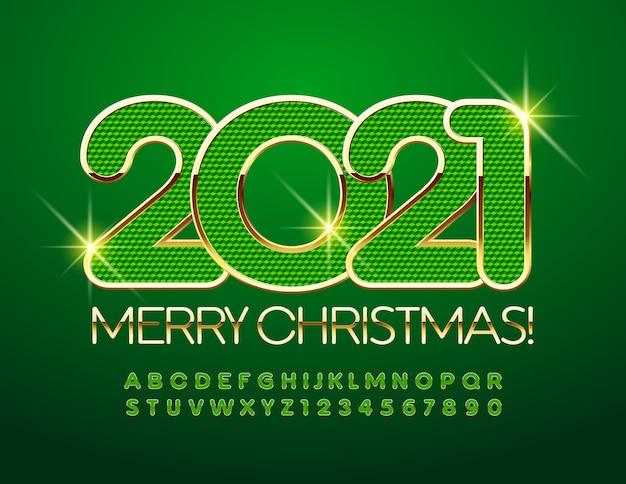 Frohe weihnachten 2021. grüne und goldene schrift. luxus alphabet buchstaben und zahlen