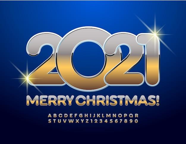 Frohe weihnachten 2021 metallic elite font. buchstaben und zahlen des goldenen alphabets