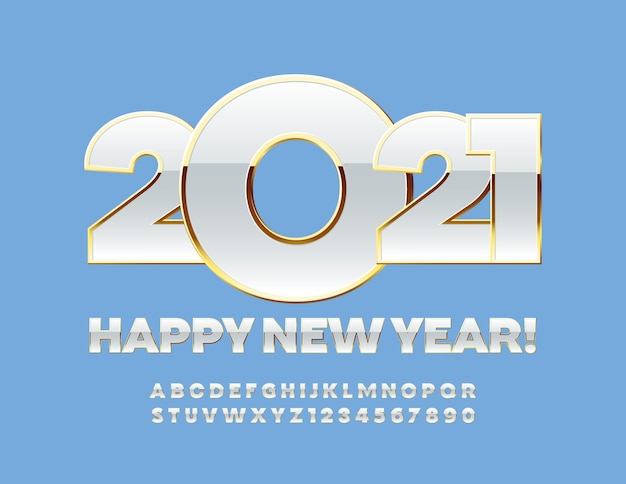 Frohe weihnachten 2021. weiß- und goldschrift. luxus alphabet buchstaben und zahlen