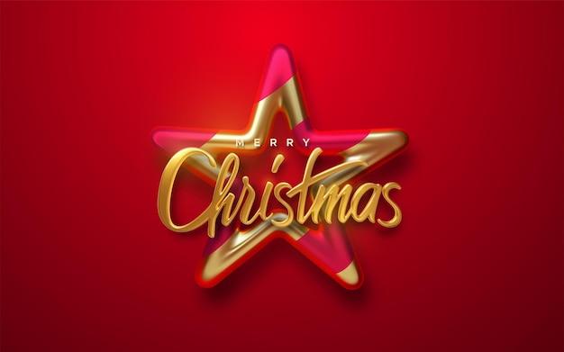 Frohe weihnachten 3d glänzendes goldenes schild mit sternkugel auf rotem hintergrund