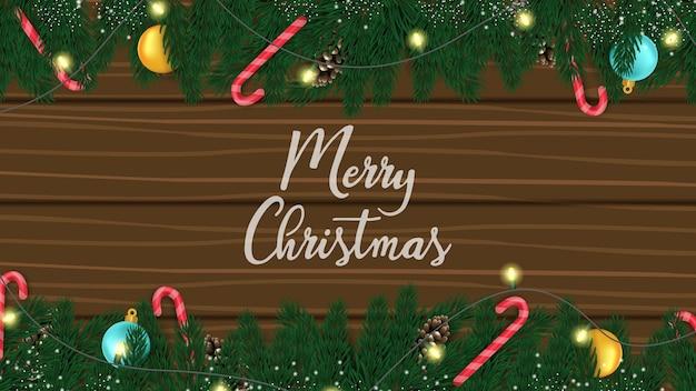 Frohe weihnachten 3d und ein frohes neues jahr mit kiefer, ball und süßigkeiten