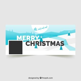 Frohe weihnachten abdeckung für facebook mit einem verschneiten wald