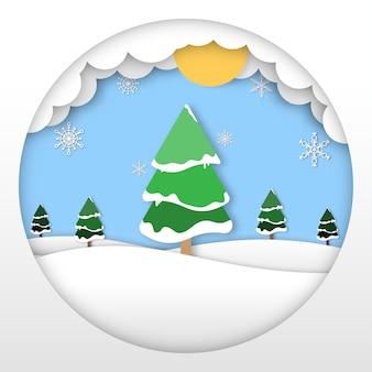 Frohe weihnachten abstrakte papierschnittillustration von schnee und kiefer auf dem berg. schöne ferien.