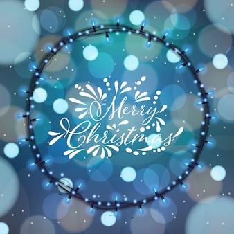 Frohe weihnachten am bokeh hintergrund