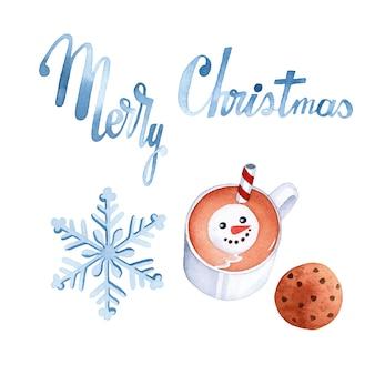 Frohe weihnachten aquarellelemente auf weißem hintergrund eingestellt