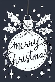 Frohe weihnachten auf weißen weihnachtskugeln! feiertagsgrußillustration.