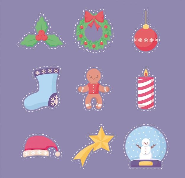 Frohe weihnachten-aufkleber-set