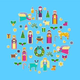 Frohe weihnachten aufkleber symbole setzen hintergrund.
