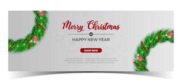 Frohe weihnachten-banner-design mit kranz