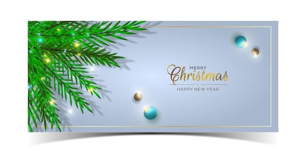 Frohe weihnachten-banner-design mit tannenzweig