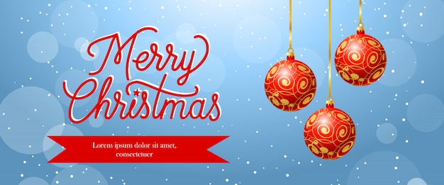 Frohe weihnachten-banner-design. rote hängende kugeln