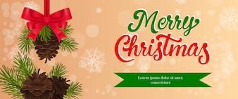 Frohe Weihnachten-Banner-Design. Tannenzapfen mit roter Schleife