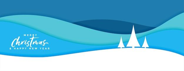 Frohe weihnachten banner im papierschnitt-stil