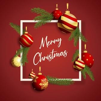 Frohe weihnachten banner im rahmen mit kugeln auf rotem grund