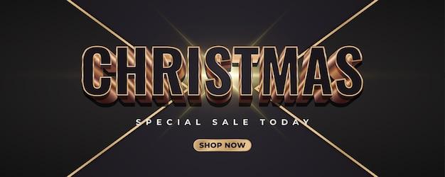 Frohe weihnachten banner mit 3d schwarz und gold zahlen auf dunklen eleganten hintergrund