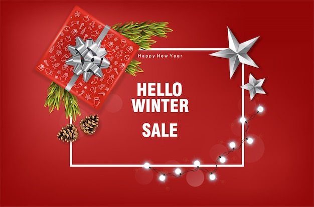 Frohe weihnachten banner mit dekorationen