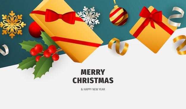 Frohe weihnachten banner mit geschenken auf weißem und blauem grund
