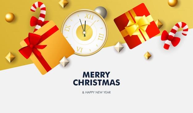 Frohe weihnachten banner mit geschenken auf weißem und gelbem grund