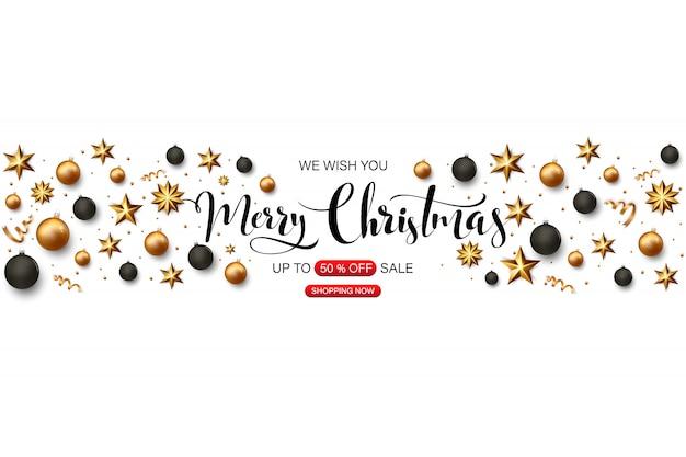 Frohe weihnachten banner mit goldenen und schwarzen weihnachtskugeln