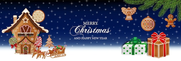 Frohe weihnachten-banner mit lebkuchenhaus-plätzchen, kuchen und süßigkeiten