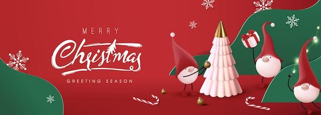 Frohe weihnachten banner mit niedlichen gnom und festliche dekoration für weihnachten