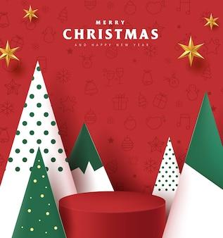 Frohe weihnachten banner mit produktanzeige zylindrische form
