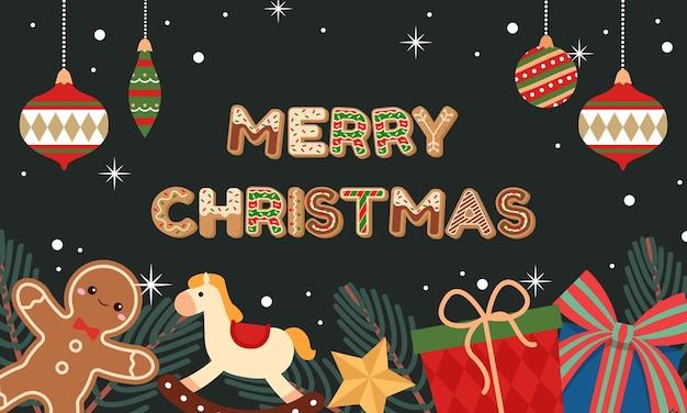 Frohe weihnachten-banner mit süßer vintage-dekoration