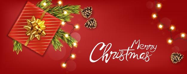 Frohe weihnachten banner mit weihnachtsschmuck