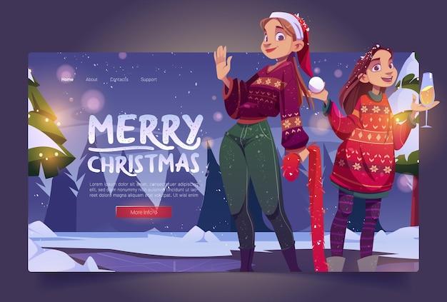 Frohe weihnachten-banner mit zwei mädchen in pullovern im winter