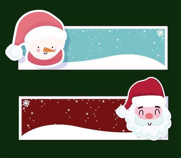 Frohe weihnachten banner santa claus und schneemann mit schneefall dekoration