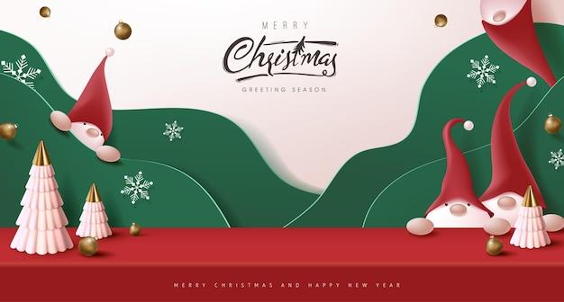 Frohe weihnachten banner studio tisch zimmer produktanzeige mit niedlichen gnom und festliche dekoration für weihnachten
