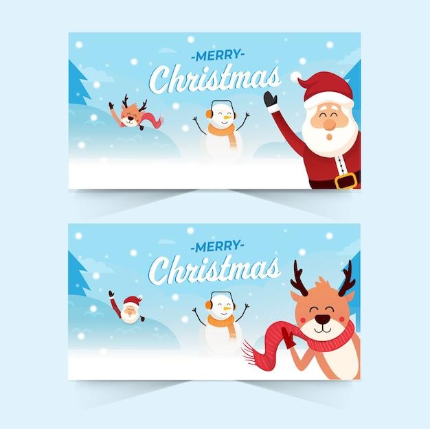 Frohe weihnachten banner. süße weihnachtsfiguren. frohe weihnachten von santa und freunden im schneehintergrund. winterlandschaft.